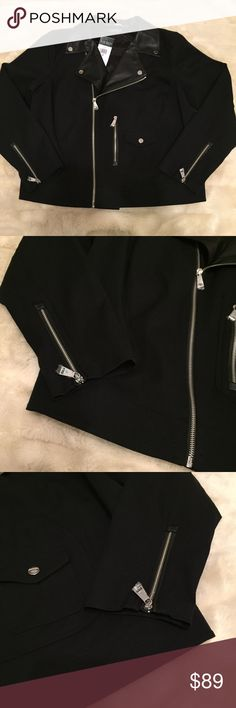 NEW 1X Lauren Ralph Lauren Black Moto Jacket Brand new!  Size 1X. $235 retail. Brand new -zipper pulls still wrapped in plastic, tags still on.  Cotton blend outer with faux leather details.  Fold over collar with snaps, asymmetrical zip up style, layered pockets, sleeve zippers.  No flaws. Lauren Ralph Lauren Jackets & Coats