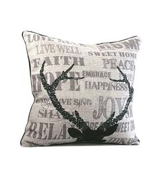 SUMMER SALE  Linen pillow with antlers print  natural by Ideccor, $22.99