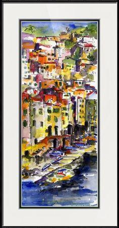 Riomaggiore Italy Cinque Terre Watercolor by Ginet by Ginette Callaway