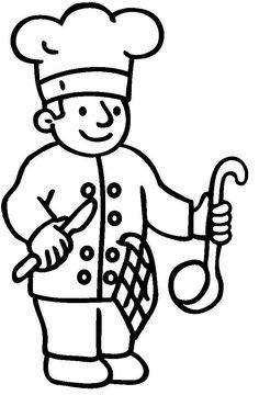 Kleurplaat bakker Young Farmers, Art Drawings For Kids, Community Helpers, French Kitchen, Teaching Kindergarten, Coloring Pages, Bakery, Applique, School