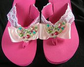 Pink Platform Flip Flops with Lace, Rhinestones and Swarovski Crystals. Perfect for Destination Wedding- Flower Girl, Sweet Sixteen, any party or to dress up your outfit!