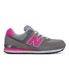 574 New Balance Kids Grade School Lifestyle Shoes - Grey/Pink (KL574CD