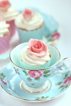 Turquise Tea Party cups and saucers with rose mini cupcakes