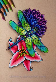 Dahlia, Dragonfly, Lilly - Commission by dannii-jo on DeviantArt Dragonfly Drawing, Butterfly Drawing, Dragonfly Art, Dragonfly Tattoo, Animal Drawings, Pencil Drawings, Art Drawings, Desenho New School, Hippie Art