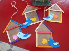 Popsicle stick birdhouse (from the playful garden) bird crafts preschool, fun crafts, Bird Crafts Preschool, Popsicle Stick Crafts, Craft Activities For Kids, Craft Stick Crafts, Toddler Crafts, Kids Crafts, Craft Projects, Arts And Crafts, Craft Ideas