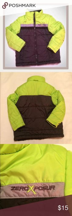 ZeroXposur boys green/black jacket ZeroXposur boys neon green/black winter jacket size 5/6. Worn only a few times and very well taken care of. Lightweight and comfortable, but warm enough for chilly snow days. ZeroXposur Jackets & Coats
