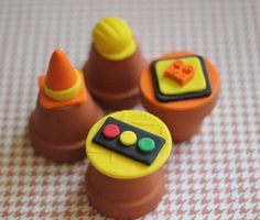 Construction Themed Fondant Cupcake Toppers by LesPopSweets