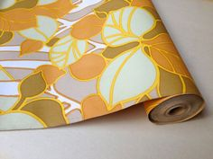 Vintage wallpaper roll yellow mustard forest from by altmeansold