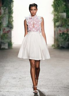 TRANSFER PRINT RUFFLE BLOUSE LINED IN PINK WITH SUMMER TWEED SKIRT