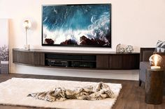 Curved Wall Mount Floating Entertainment Center TV Stand – Arc – Espresso Floating TV stand for entertainment center with curved wall mount – Arc – Espresso Wall Mount Entertainment Center, Entertainment Shelves, Centro Tv, Wall Mounted Tv Console, Floating Tv Stand, Floating Wall, Floating Shelves, Table Diy, Floating Cabinets