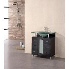 Design Element Huntington 30 in. Vanity in Espresso with Glass Vanity Top in Aqua-DEC015A - The Home Depot