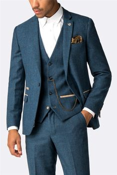 This Marc Darcy herringbone men's suit is a stylish three piece suit for formal occasions in a royal blue checked men's suit jacket, trousers and waistcoat. Vintage Wedding Suits, 3 Piece Suit Wedding, Blue Suit Wedding, Men Wedding Suits, Rustic Wedding Suit, Wedding Tuxedos, Blazer For Men Wedding, Mens Wedding Looks, Mens 3 Piece Suits