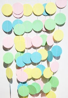 Baby paper garland - Pastel yellow, pink, green and blue - Baby shower - Sprinkle shower - Nursery - Boy or Girl - Mother's Day - Easter by TransparentEsDecor, $10.00 https://www.etsy.com/listing/155927621/baby-paper-garland-pastel-yellow-pink?ref=shop_home_active_search_query=baby%2Bshower