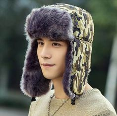 aa86a92087 Green camouflage bomber hat with ear flaps mens winter ushanka hat