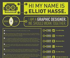 Infographic Resume--Inspiration--  25 Intelligent Resume Ideas.  More appropriate for Graphic Design, Photography, and other creative arts.