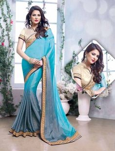 Look at the sky, you know it looks beautiful! Look at yourself in this Sky blue saree And you look even more amazing! Sky blue and light grey embroidered georgette saree with blouse Trendy Sarees, Fancy Sarees, Party Wear Sarees, Aqua Blue Color, Cyan Blue, Blue Grey, Gray, Sky Blue Saree, Grey Saree