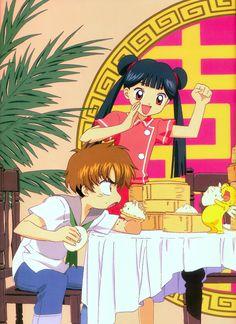 Tags: Cardcaptor Sakura, Li Syaoran, Li Meiling, Scan, Kero-chan, Official Art, Artist Request