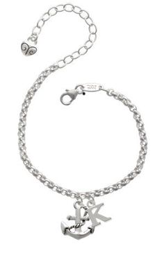 """Antiqued Anchor """"K"""" Initial Charm Bracelet [Jewelry] Delight Jewelry. $24.99. Plated hand enameled charms. Italian made silver plated brass charm bracelet measures 6"""" plus a 2"""" extender.. We design all of our own charms in Dallas, Texas."""