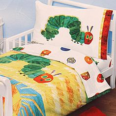 @Overstock - Enhance your child's bedroom decor with this Very Hungry Caterpillar toddler bed setBedding and bath boasts a 4-piece toddler bed set Kids' bedding set is made for a standard crib mattresshttp://www.overstock.com/Bedding-Bath/Eric-Carle-Hungry-Caterpillar-Toddler-Comforter-Set/3181298/product.html?CID=214117 $39.99