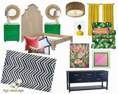 Bedroom Inspiration Board: Eclectic, Modern, Glam with a mix of Rustic. Bright colors- kelly green, pink and yellow mixed with navy