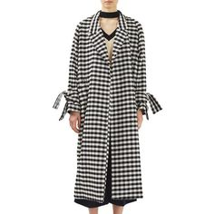 Women's Topshop Boutique Gingham Duster Coat (4 315 ZAR) ❤ liked on Polyvore featuring outerwear, coats, black multi, slouch coat, duster coat, slouchy coat, checkered coat and topshop coats