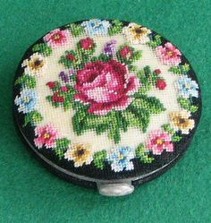 Retro Petit Point Powder Compact - never used | eBay