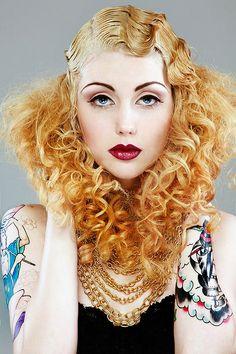 tags: fingerwaves, retro hair, 1920s,1930s, tattoos