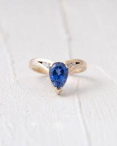 Pear Shaped Tanzanite Diamond & 18k Gold Ring  by LRCGoldsmith, $875.00