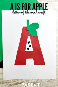 Preschool Apple Activities, Preschool Lesson Plans, Preschool Apples, Art Activities, Letters For Kids, Preschool Letters, Preschool Art, Alphabet Crafts, Letter A Crafts