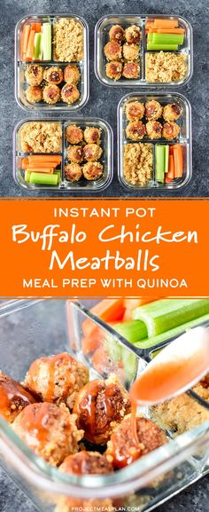 Perfectly portioned lunches cooked 100% in your Instant Pot are completely possible! Pressure cook perfect buffalo chicken meatballs and fluffy quinoa TOGETHER in this Instant Pot Buffalo Chicken Meatballs Meal Prep! - ProjectMealPlan.com #mealprep #buffalochicken #meatballs