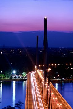 The Bridge of Liberty - Most Slobode, Novi Sad, Serbia, across Danube which was built after NATO bombing of Serbia in spring 1999. All bridges in Novi Sad were bombed and destroyed by NATO.
