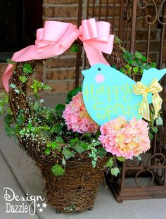 DIY Easter Sign! Adorable Easter Craft using chalkboard paint! Love this sign on my front porch!