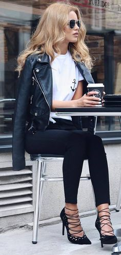 white and black fall inspiration moto jacket + top + skinnies + heels