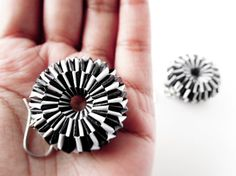 Paper jewelry Black and White paper weave doughnut by Paperica, $34.99
