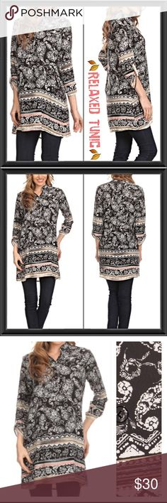 Relaxed Fit Paisely & Tribal Tunic S M 2X Take it easy in style & comfort in this relaxed fit paisley tunic. Black & white paisley with tribal details in tan, mint & blush. Vneck & 3/4 button sleeves. Pair with leggings or skinnies all year long. 100% soft rayon. Small Medium & 2X  Tops Tunics