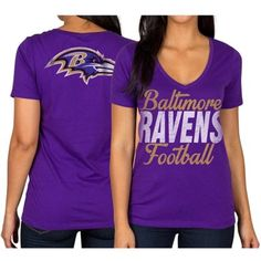 Baltimore Ravens Women's Three-Quarter Sleeve Raglan Tri-Blend T-Shirt - Ash/Purple