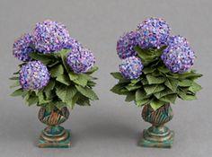 Minature Pair of purple hydrangea planters Clay Fairy House, Biscuit, Hydrangea Flower, Hydrangeas, Mini Plants, Minis, Miniature Plants, Dollhouse Accessories, Little Flowers