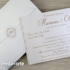 Convite Casamento Dourado. Orçamentos e pedidos pelo e-mail contato@efeitoearte.com.br