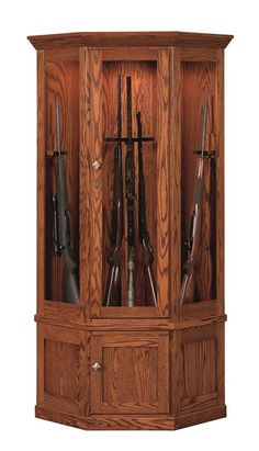 Amish Mission 14-gun Corner Gun Cabinet With Carousel