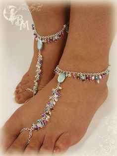 Moonstone, Garnet and Pearl Beaded Barefoot Sandal