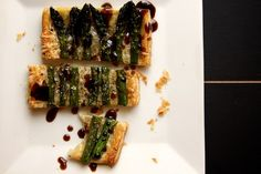 asparagus tart, with puff pastry, gruyere, coarse sea salt and balsamic reduction. by joy the baker, via Flickr