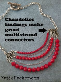 I love using chandelier findings as multi-strand connectors. @Beadalon JSKIT0343A