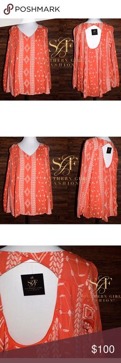EMBROIDERED TOP Eyelet Classic Pretty Swing Blouse Available Sizes: Small, Medium.  • Beautiful and sophisticated, this preppy embroidered chiffon peasant blouse features an open cutout back, elastic cuffs & classic swingy silhouette. • Fully lined body with unlined sleeves. • Color is a coral orange with ivory embroidery.  • Polyester; USA.  • Measurements provided in comment(s) section below.   {Southern Girl Fashion - Boutique Policy}   ✔️ Same-Business-Day Shipping (10am CT). ✔️ Price…