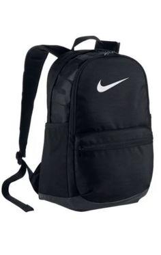 Nike Brasilia BLACK Backpack School Laptop Bag Medium White BA5329-010 nwt #Nike #Backpack