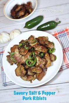 This recipe of oven-baked salt & pepper pork riblets in inspired from Chinese style salt & pepper pork chop. I am using pork riblets instead of pork chops. Spicy Recipes, Asian Recipes, Cooking Recipes, Healthy Recipes, Yummy Recipes, Free Recipes, Keto Recipes, Dinner Recipes, Pork Loin Recipes Oven
