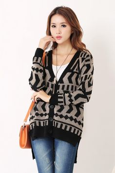 Women Stylish Jacquard Assorted Color Loose Cardigan - Lalalilo.com Shopping - The Best Deals on Women's Sweaters & Cardigans