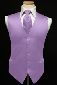 The groomsmen will wear black tuxes with lavender ties and vests.