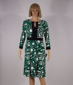 Anne-Klein-Dress-Size-12-Camellia-Print-Green-White-Split-Neck-Knee-Length-NEW