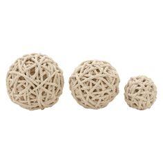 DecMode Cotton Rope Decorative Ball Sculpture - Set of 3 - 87475