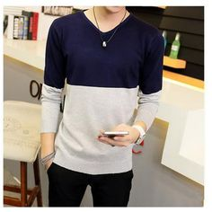 2016 Autumn Men's V-neck sweater hedging sweater bottoming Korean youth Slim spell color long-sleeved sweater